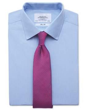 Charles Tyrwhitt Slim Fit Fine Stripe Sky Blue Cotton Dress Shirt French Cuff Size 15/35
