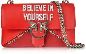Pinko Love Believe In Yourself Red Eco Leather Shoulder Bag