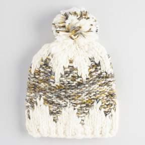 World Market Ivory and Olive Chunky Knit Pom Hat