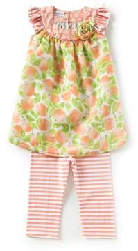 Bonnie Jean Bonnie Baby Little Girls 4-6X Floral Shift Dress & Striped Capri Leggings Set