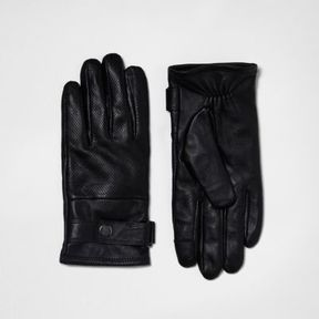 River Island Mens Black leather perforated gloves