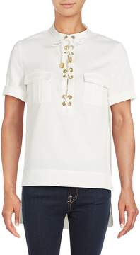 Finders Keepers Women's Great Heights Lace-Up Placket Shirt