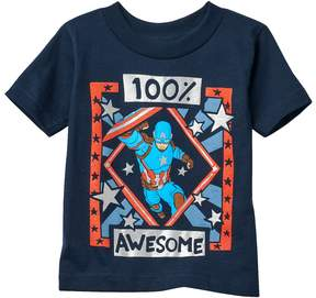 Marvel Toddler Boy Captain America 100% Awesome Tee