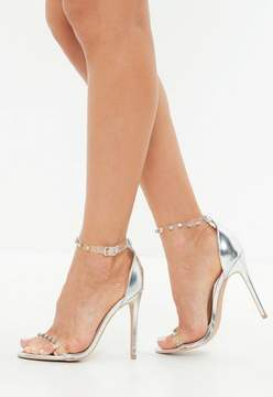 Missguided Silver Clear Embellished Barely There Sandals