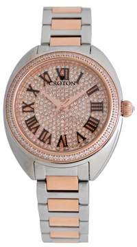 Croton Ladies Two-tone Swiss Quartz Watch with Set CZ Bezel and Pave Dial