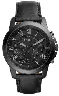 Fossil Grant Black IP Stainless Steel Black Leather Strap Chronograph
