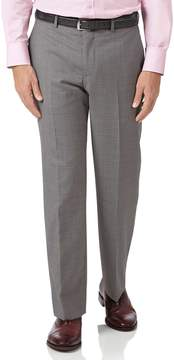 Charles Tyrwhitt Silver Classic Fit Cross Hatch Weave Italian Suit Wool Pants Size W36 L32