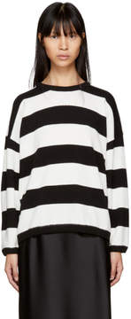 6397 Black and White Striped Terry Crewneck Sweater
