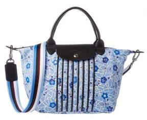 Longchamp Le Pliage Cuir Fleuri Small Top Handle. - BLUE - STYLE