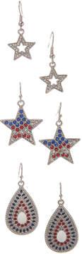 Carole Three-Pair Rhinestone Star Earrings Set