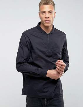 Kiomi Shirt with Half Zip Neck in Regular Fit