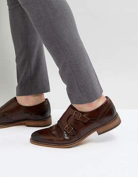 Asos Monk Shoes In Brown Leather With Brogue Detail