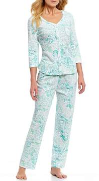 Karen Neuburger Foulard-Printed Interlock Knit Pajamas