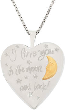 JCPenney FINE JEWELRY Sterling Silver & 14K Gold over Silver Love You To The Moon & Back Locket Pendant Necklace