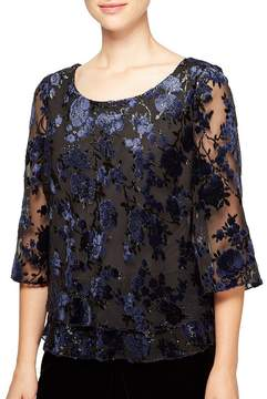 Alex Evenings Flocked Velvet Floral Blouse