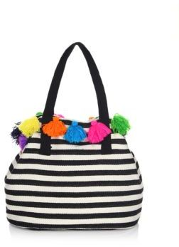 JADEtribe Nautical Striped Tassel Bag
