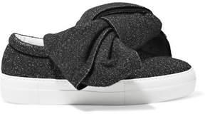 Joshua Sanders Knotted Glittered Lurex Slip-on Sneakers - Black