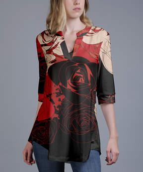 Azalea Red & Black Floral V-Neck Tunic - Plus