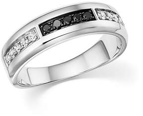 Bloomingdale's White and Black Diamond Men's Band in 14K White Gold