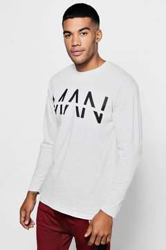 boohoo Long Sleeve Large MAN Dash T-Shirt