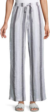 Allen Allen Wide-Leg Striped Linen Pants