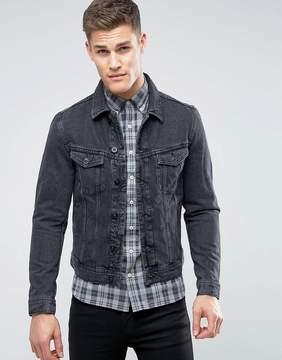 MANGO Man Denim Jacket In Washed Black