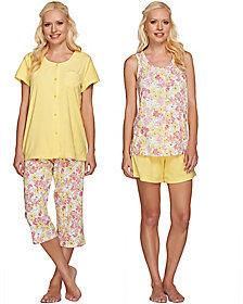Carole Hochman As Is Delicate Aurora Cotton Jersey 4pc Pajama Set