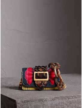 Burberry The Small Buckle Bag in Scallop Trim Snakeskin - YELLOW - STYLE
