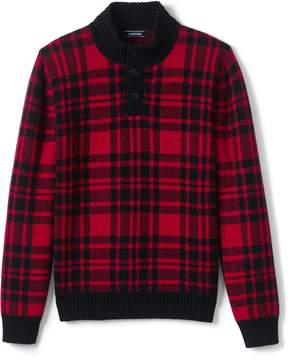 Lands' End Lands'end Men's Wool Blend Tartan Button Mock Sweater