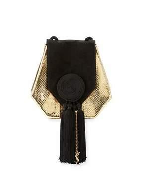 Saint Laurent Opium Snakeskin & Suede Crossbody Bag, Gold/Black - GOLD/BLACK - STYLE