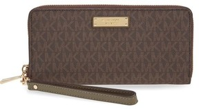 Michael Kors Jet Set Travel Logo Continental - Wristlet - Brown/Olive - 32S7GTTE9B-247 - AS SHOWN - STYLE