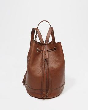 Leather Backpack Bucket Bag