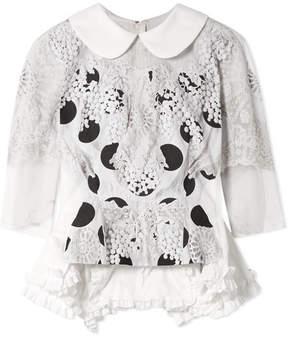 Comme des Garcons Ruffle-trimmed Printed Cotton-canvas Blouse - White