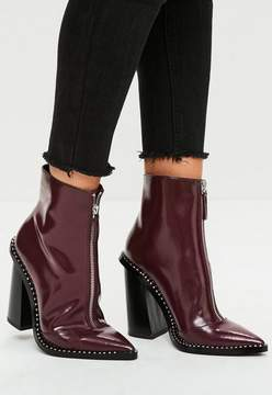 Missguided Burgundy Front Zip Pointed Ankle Boots