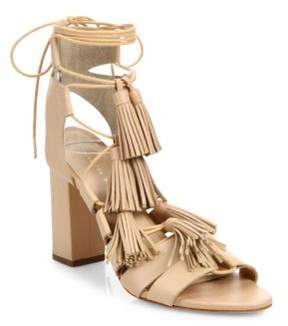 Loeffler Randall Tasseled Lace-Up Leather Sandals