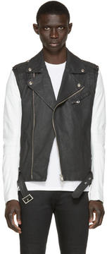 Pierre Balmain Black Denim and Leather Biker Jacket