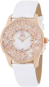 Jivago Brilliance Womens Mother-of-Pearl Dial White Leather Strap Watch