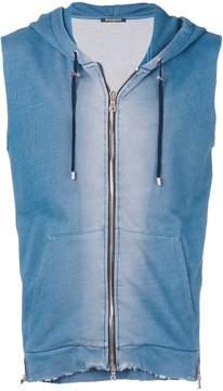 Balmain zipped sleeveless hoodie