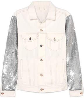 IRO Nanopo Sequined Jersey And Denim Jacket - White
