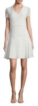Isaac Mizrahi IMNYC V-Neck Short Sleeve Fit & Flare Lace Mix Dress