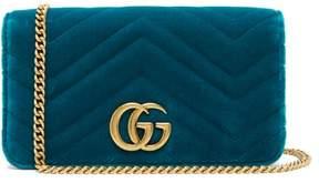 Gucci Marmont Gg Velvet Mini Bag - Womens - Green