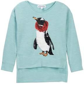 Ten Sixty Sherman Penguin Faux Fur Trimmed Sweater (Little Girls)