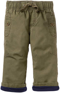 Gymboree Olive Jersey-Lined Ripstop Pants - Infant