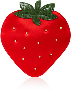 Charlotte Olympia Crystal-Embellished Satin Strawberry Clutch