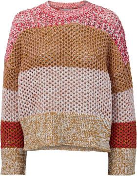Derek Lam 10 Crosby Open Knit Colorblock Sweater