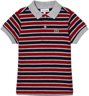 Lacoste Red, Grey and Navy Stripe Pique Polo