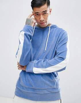 Jaded London Hoodie In Blue Velour With Sleeve Stripe