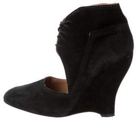 Alaia Suede Ankle Cuff Wedges