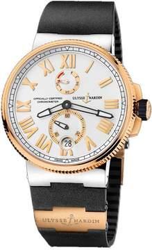 Ulysse Nardin Marine Chronometer Manufacture Silver Dial Black Rubber Men's Watch