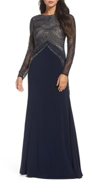 Adrianna Papell Women's Beaded Long Sleeve Gown